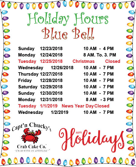 holiday hours 2018 Blue Bell
